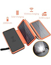 XIYIHOO Solar Charger Power Bank 20000mAh, Portable Charger 5W Wireless Charger Compatible Qi-Enabled Phones & Dual Ports 2.1A Output Compatible Smartphones for Outdoor Camping Travel-orange …