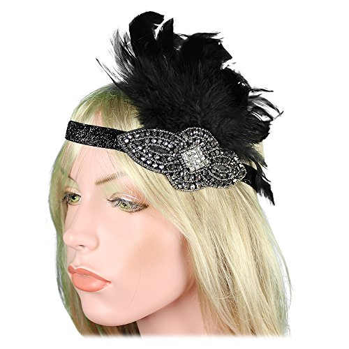 Black Flapper Adult Costumes Headpiece (Women 20s 30s Party Prom Vintage 1920s Gatsby Black Silver Headpiece Headbands Flapper Crystal Headdress halloween)