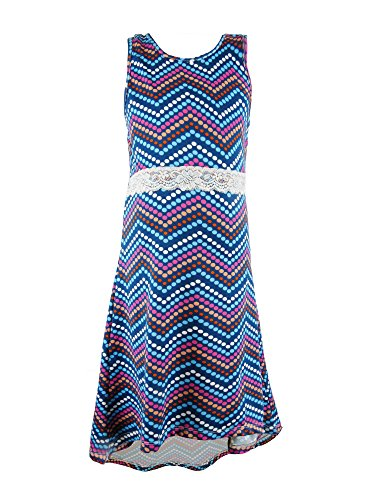 S.W.A.K. Girls Polk-Dot High-Low Maxi Dress Size 6X- Navy (Outfit Girls Size 6x)