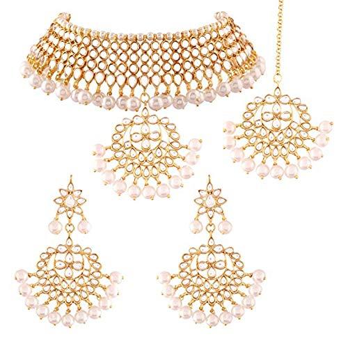 8c3d21d712 Amazon.com: Aheli Indian Traditional Maang Tikka Choker Kundan Necklace  Earrings Set Ethnic Wedding Party Designer Jewelry for Women: Jewelry