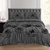 Sweet Home Collection Scarlett Fancy Duvet Cover 3 Piece Set with Pillow Shams Unique Stylish Fashion Designs, King, Gray