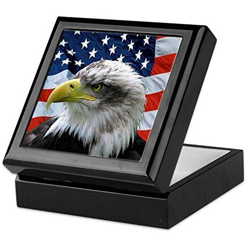CafePress - Bald Eagle American Flag - Keepsake Box, Finished Hardwood Jewelry Box, Velvet Lined Memento Box