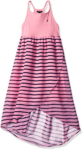 Hem With Nautica Stripe Pink Girls' Chiffon Asymmetrical Dress Light 1wwYIvq