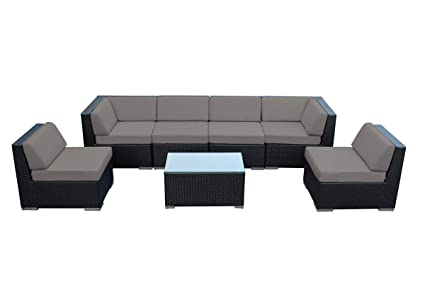 Ohana 7 Piece Outdoor Patio Furniture Sectional Conversation Set, Black  Wicker With Sunbrella Taupe