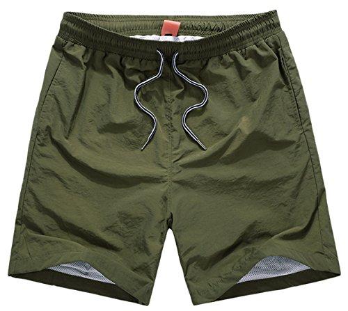 chouyatou Men's Casual Elastic Waist Mesh Lined Swim Trunks Shorts (Medium, Army) ()