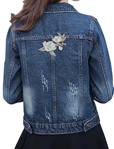 LRT Womens Denim Jacket Embroidered Floral Jean Jacket (S, Blue)
