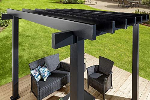 Garden and Outdoor Sojag 10′ x 10′ x 8′ Yamba Outdoor Backyard Pergola Square Shaped Gazebo, Dark Grey pergolas