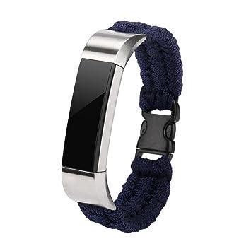 taottao nueva cuerda Nylon supervivencia pulsera reloj banda para Fitbit alta/Fitbit alta HR, color azul: Amazon.es: Deportes y aire libre