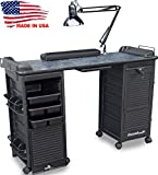 B606 Manicure Nail Table Double Lockable Cabinet Black Marble Laminated Top by Dina Meri