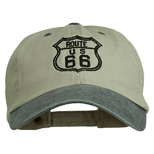 Khaki Us Navy (US Route 66 Embroidered Pigment Dyed Washed Cap - Khaki Navy OSFM)