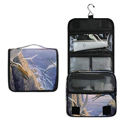 Hanging Toiletry Bag Flying Pterosaurs Birds Ocean Travel Organizer for Makeup and Toiletries for Men Women,Hang Case for Cosmetics and Toilet Accessories with Metal Swivel - Archive Toilet