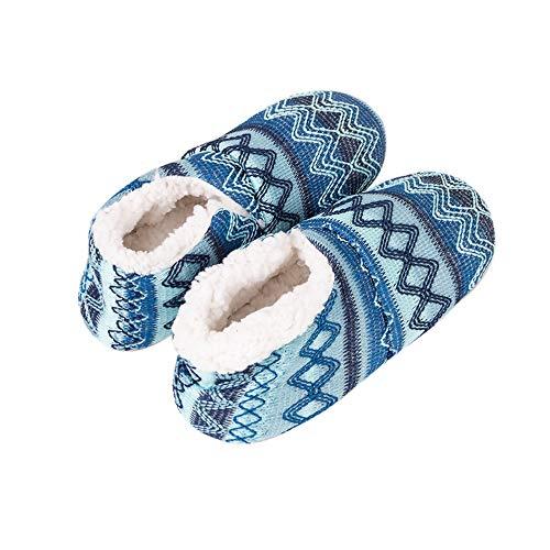 dérapant Hiver Pantoufles Confortable Chaussures Vertvie Anti Chaudes Femme Souples 1 Bleu Noël Fleece ZxqnvUwa5