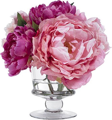 - BLOOMS by Diane James Faux Pink Peony Bouquet in Glass Vase