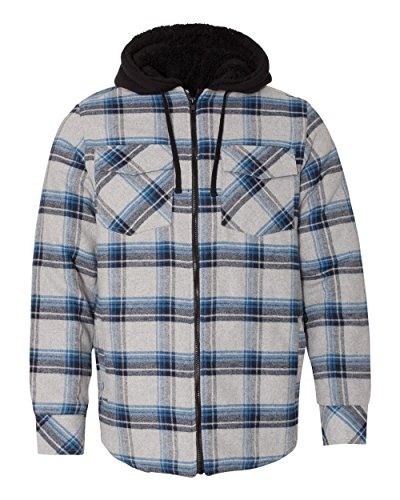 Burnside Men's 8620 Plaid Quilted Lined Flannel Full-Zip Hooded Jacket (2X-Large, Grey/Blue)