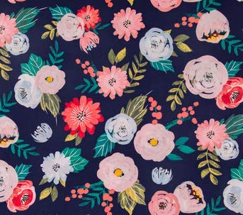 Fitted Crib Sheet in Navy Floral Roses and Mums by Twig + Bird - Handmade in America