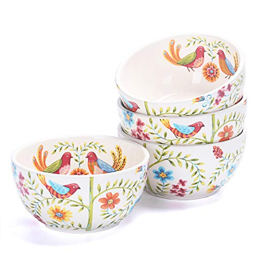 (Bico Red Spring Bird Ceramic 26oz Cereal Soup Bowls Set of 4, for Pasta, Salad, Cereal, Soup & Microwave & Dishwasher Safe, House Warming Birthday Anniversary Gift)
