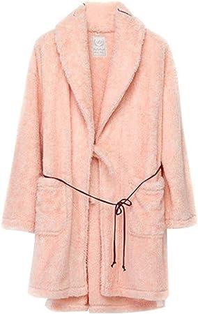 Albornoz Nan Liang Lujo 100% algodón Toalla de baño Bata Abrigo Ropa de Dormir Gran tamaño Otoño Invierno Largo Cómodo (Color : Pink, Tamaño : L)