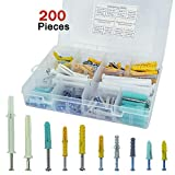 200Pcs Assorted Sizes Hollow Self Drilling Drywall Anchors Screws Assortment Set Kit, Plastic Self Drilling Drywall Anchors Assortment with Screws