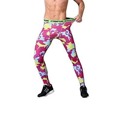 IyMoo Men's Compression Tight Pants Base Layer Running Leggings Camo/Solid/Printed Color Petite-Plus Size