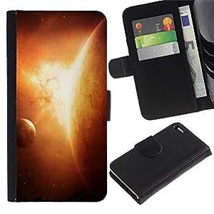 KingStore / Leather Etui en cuir / Apple Iphone 4 / 4S / Apocalypse Sun Planet Solar System Arte Tierra
