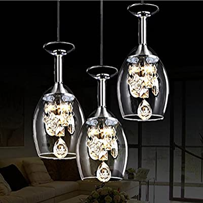 3 Creative Crystal Wine Glasses LED Pendant Light Glass Chandeliers Pastoral Cafe Bar Living Room Pendant Lamp,220v