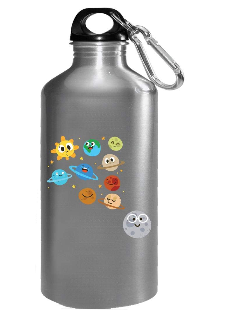 Funny Solar System - Planets Moon Sun - Humor - Water Bottle