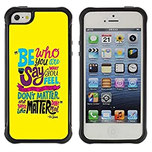"Pulsar iFace Series Tpu silicona Carcasa Funda Case para Apple iPhone SE / iPhone 5 / iPhone 5S , Texto Funky trullo Yellow Sea Mensaje Inspirador"""