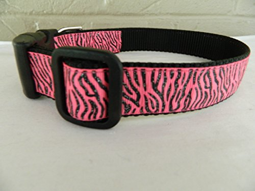 Couture Zebra - Schmoopsie Couture Pink and Black Zebra Sparkle Dog Collar (Extra Small 1/2