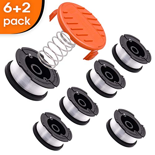 CRST String Trimmer Replacement Spool Weed Eater Cap Autofeed Trimmer String AF-100 0.065-inch 30ft for Black and Decker String Trimmers (8)