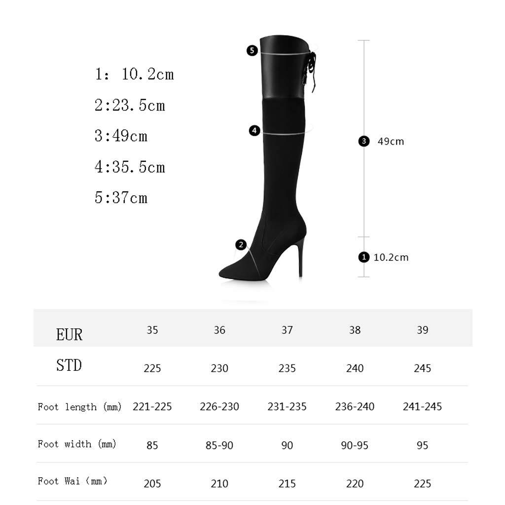 2018 Herbst und Winter Neue Wildleder high high Wildleder Heel Stiefel Frauen Stiletto Spitze Lange Stiefel über das Knie Stiefel Frauen Stiefel schwarz schlank (Farbe   SCHWARZ, größe   39) e58046