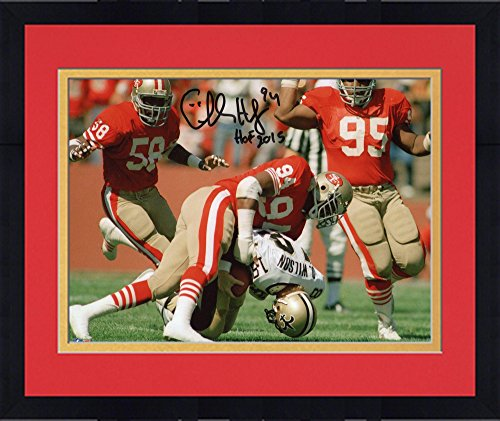 Framed Charles Haley San Francisco 49Ers Autographed 8  X 10  Action Photograph With Hof 15 Inscription   Fanatics Authentic Certified