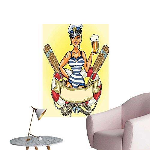 Wall Decorative P Up Sexy Sailor Girl Lifebuoy Capta Hat and Costume Glass Beer Fem Pictures Wall Art Painting,12