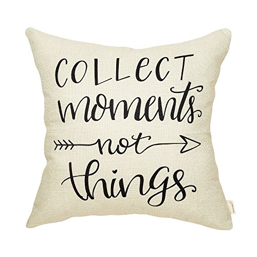 Fahrendom Rustic Collect Moments Not Things Farmhouse Quote Retro Lifestyle Sign Cotton Linen Home Decorative Throw Pillow Case Cushion Cover with Words for Sofa Couch 18 x 18 in