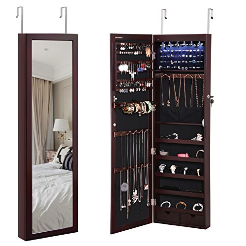2 Door Wood Frame (SONGMICS 6 LEDs Jewelry Cabinet Lockable Wall Door Mounted Jewelry Armoire Organizer with Mirror 2 Drawers Brown UJJC93K)