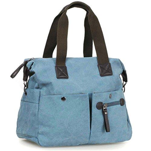 BMC Womens Cyan Blue Textured Canvas Multi Pocket Shoulder Tote Fashion (Multi Pocket Tote)
