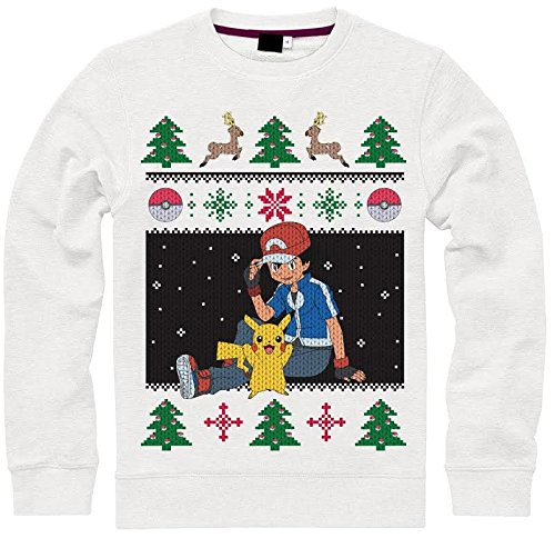Pokemon-Pikachu-Ash-Christmas-Sweater-Jersey-Blanco