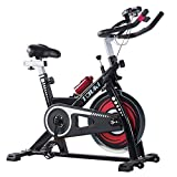 Tauki Indoor Health and Fitness Exercise Bike with LCD Monitor, Black