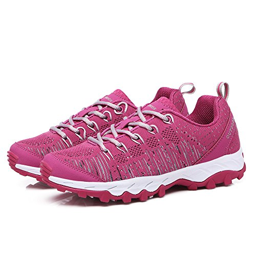 VENSHINE Mens Womens Trail Laufschuhe Leichte stricken Outdoor Walking Wandern Schuhe Mode Turnschuhe rot