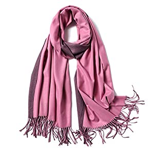 SOJOS Two-tone Scarf Cashmere Feel Wool Wraps Shawls Women Large Soft Scarves SC3002