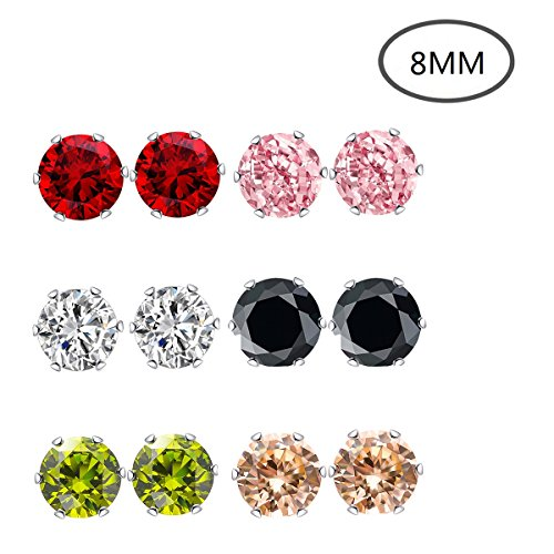 Stud Earrings,8mm 6 Pairs 6 Colors Stainless Steel Earrings Women