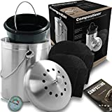 Introducing Compostizer Stainless Steel 1.3 Gal Kitchen Compost Bin Kit, Unique Inner Bucket, Special e-Vent Technology, Double Carbon Filters, Paperback Book, Composting Thermometer,4 Double Filters