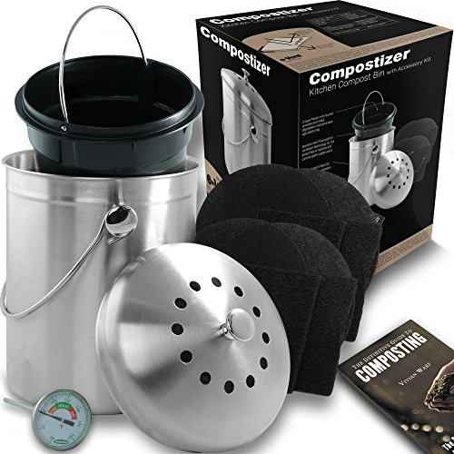 Introducing Compostizer Stainless Steel 1.3 Gal Kitchen Compost Bin Kit, Unique Inner Bucket, Special e-Vent Technology, Double Carbon Filters, Paperback Book, Composting Thermometer,4 Double - Free Compost Caddy
