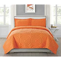 HollyHOME Collection 3 Pieces Luxury Super Soft Solid Pattern Embossed Bedding Quilt Set Bedspread with 2 Pillowcases, Orange, Queen
