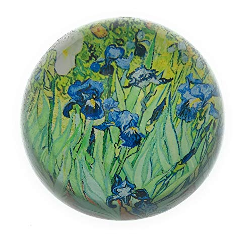 Value Arts Vincent Van Gogh Irises Glass Dome Paperweight, 3 Inches Diameter