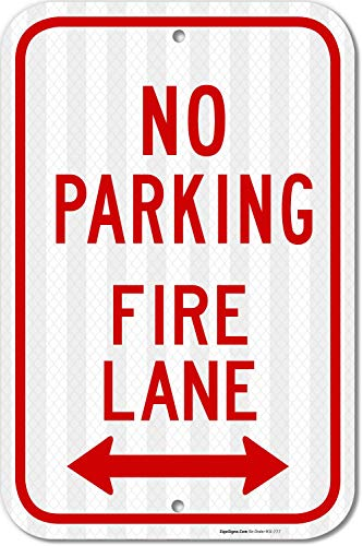 No Parking Sign, Fire Lane Sign, 12x18 3M Reflective (EGP) Rust Free .63 Aluminum, Easy to Mount Weather Resistant Long Lasting Ink. Made in USA - by SIGO SIGNS