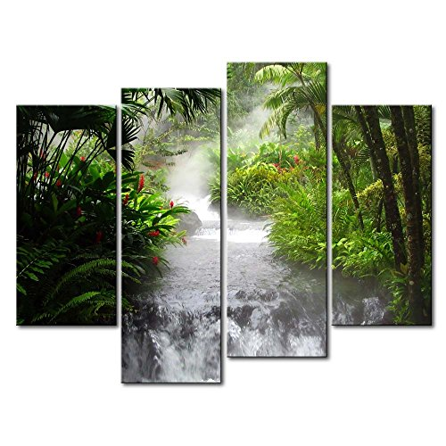 4 Panel Wall Art Painting Waterfall In The Jungle Prints On Canvas The Picture Landscape Pictures Oil For Home Modern Decoration Print Decor For Bedroom