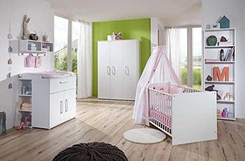 3-tlg. Babyzimmer in weiß, Kleiderschrank B: 130 cm, Wickelkommode B: 87 cm, Babybett 70 x 140 cm