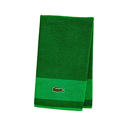 "Lacoste Match Bath Towel, 100% Cotton, 600 GSM, 30""x52"", Field Green - ICONIC DESIGN - This premium towel is the perfect addition to any home. Available in a series of designer colors, and featuring the iconic Lacoste crocodile, it adds a stylish touch to any bathroom. PREMIUM COTTON CRAFTSMANSHIP - Wrap yourself in the comfort of a Lacoste Match Bath Towel. Carefully crafted with Cotton, this towel brings a sense of comfort and luxury to your home. DEPENDABLY DURABLE - Designed for long-lasting use, this medium-weight towel is extra durable and stays strong, even after multiple uses. - bathroom-linens, bathroom, bath-towels - 51E21nOtPXL. SS400  -"
