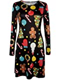 Women's Long Sleeves Xmas Snowman Print Christmas Flared Swing Dress Top