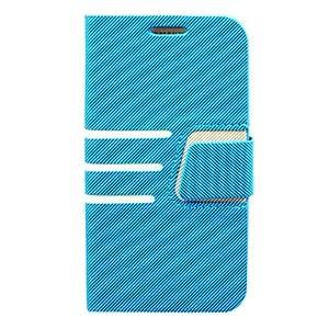 HOR Tres Horizontal Funda de cuero para Samsung Galaxy raya S4 i9500 , Azul
